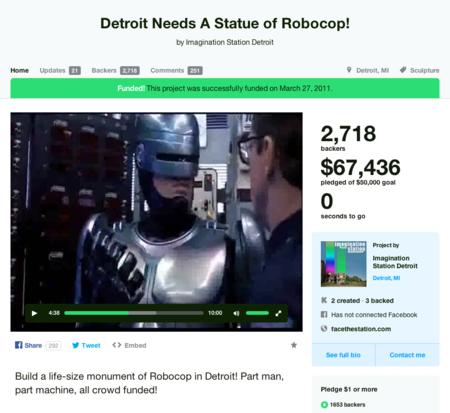 Una estatua de Robocop para la ciudad de Detroit