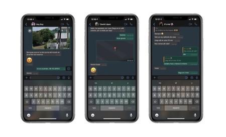 Capturas del modo oscuro de WhatsApp para iPhone