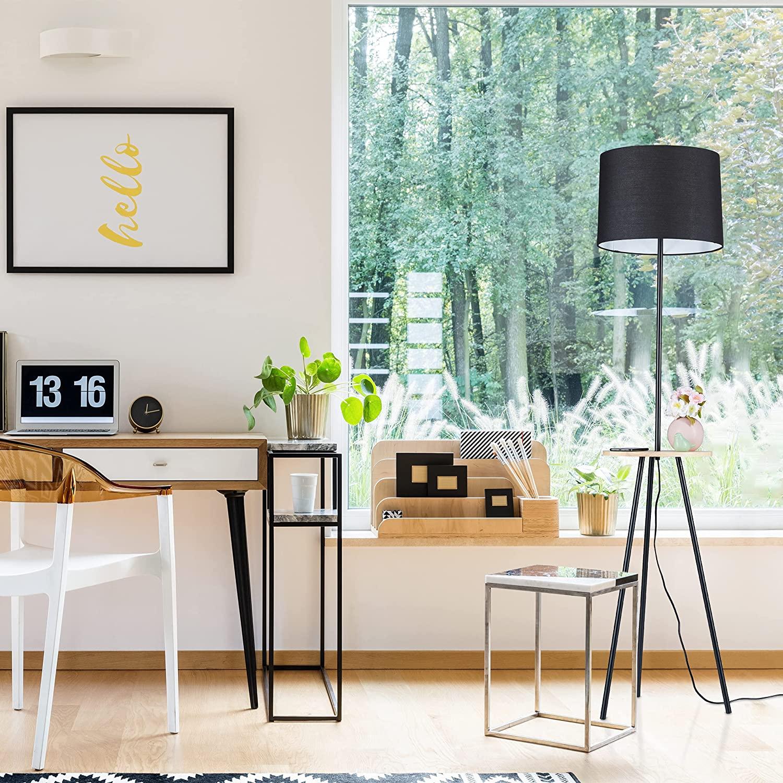 Relaxdays Lámpara de pie con mesa, 151 x 36 cm, trípode, pantalla de tela, casquillo E27, metal, madera, lámpara de pie, color negro [Clase de eficiencia energética A++]