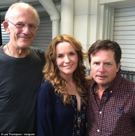 Christopher Lloyd, Lea Thompson y Michael J. Fox en Londres para celebrar el 30 aniversario