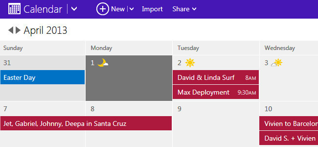 Calendario de Outlook.com
