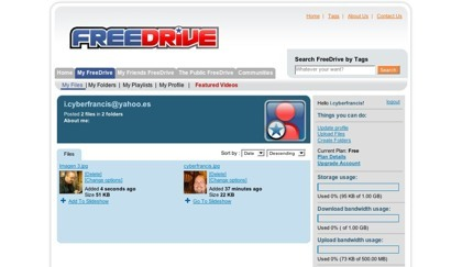 FreeDrive, disco duro virtual y red social unidas en una misma aplicación web