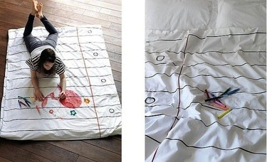 Decorar el edredón con los dibujos infantiles