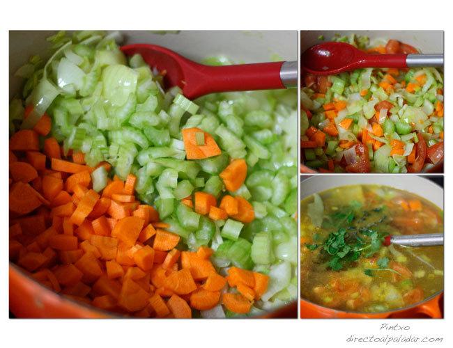 Caldo de verduras. Pasos