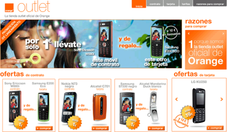 La tienda Outlet de Orange ya disponible con ofertas de 2 móviles por 1 euro