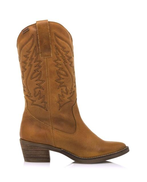 Botas de mujer Mustang tipo cowboy en color marrón en piel