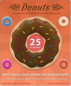 Iconos de donuts libres de calorías y grasas trans