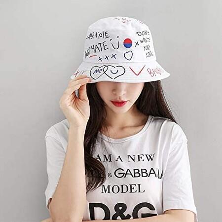 Bucket Hat En Color Blanco Con Diseno De Letras En Amazon