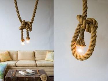 Original lámpara hecha con cuerda