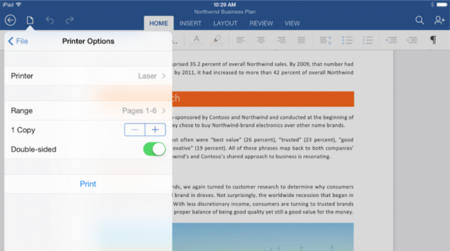 Microsoft actualiza Office para iPad haciéndolo compatible con AirPrint