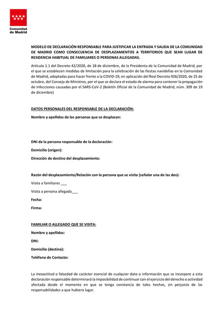 Madrid Declaracion Responsable