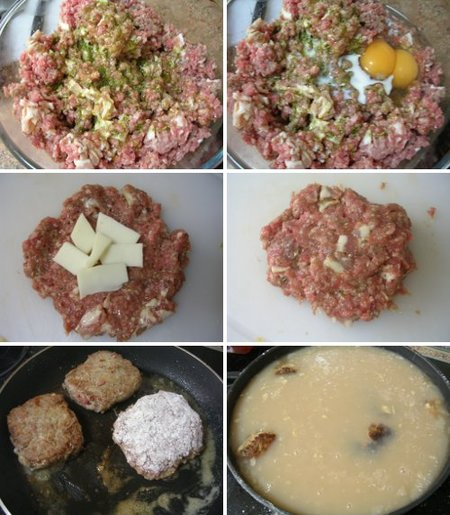 Elaboración de la receta de filetes de carne picada rellenos de queso