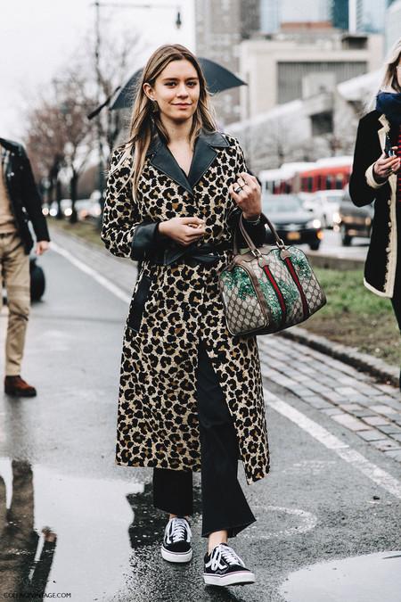 Nyfw New York Fashion Week Fall Winter 17 Street Style Emma Morrison Leopard Coat Gucci Bag 2