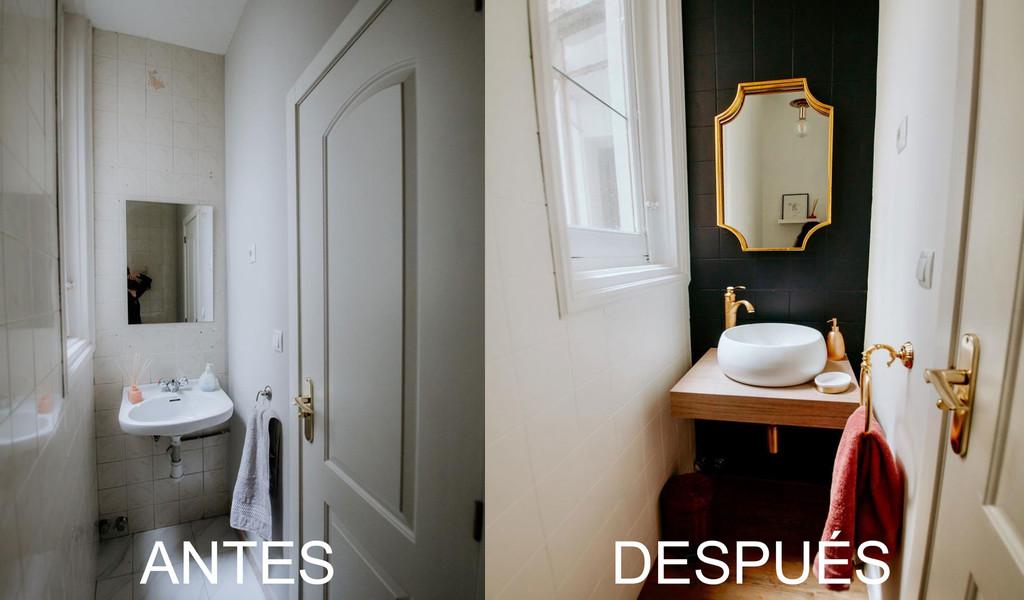 Antes y después; el cambio radical sin obras del cuarto de baño de las oficinas de Lucía Be