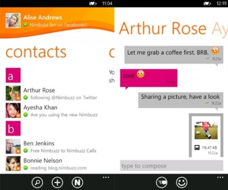 Nimbuzz Messenger llega al Marketplace de Windows Phone