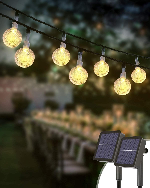 Guirnalda de luces de exterior con carga solar en Amazon