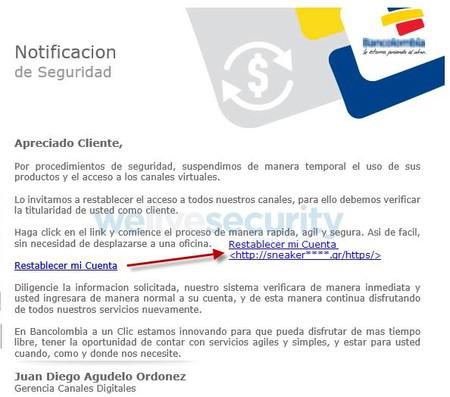 Correo falso Bancolombia