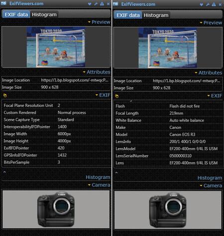 Datos Exif Canon Eos R3