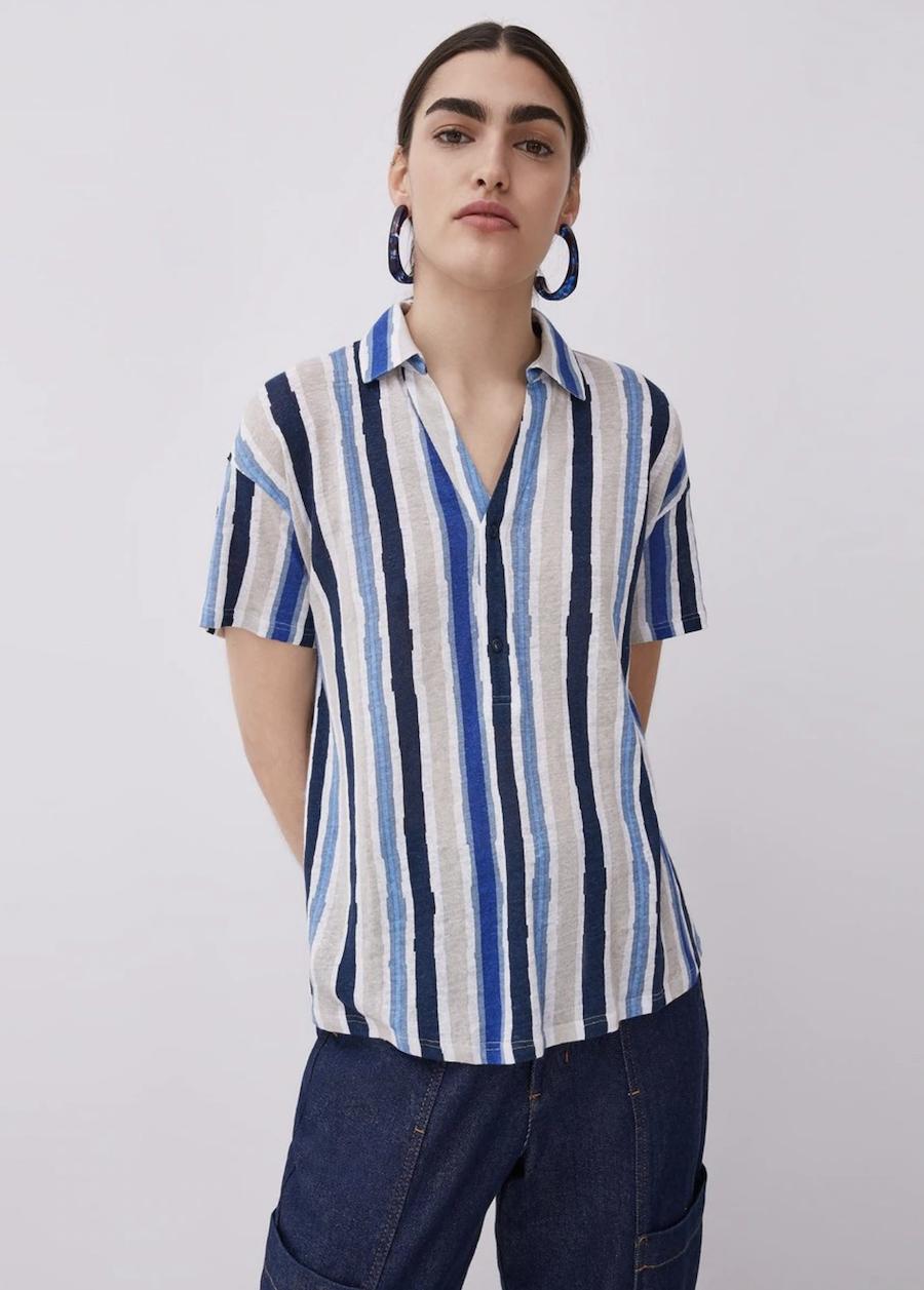 Camisa de mujer 100% lino de rayas