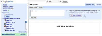 Google Reader ahora permite adjuntar notas a los elementos compartidos
