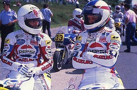 Kevin Schwantz y Ron Haslam - Spa 1989