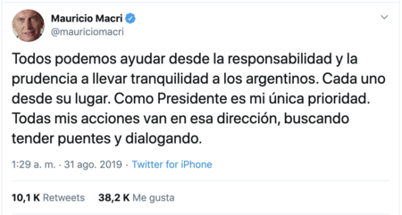 Tweet Mauricio Macri