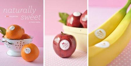 Pegatinas para convertir una fruta en el mejor regalo de San Valentín
