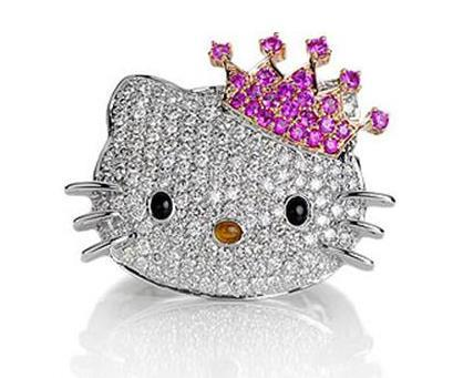 Hello Kitty Princesa, joyería en diamantes y zafiros