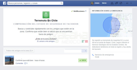 Facebook activa Safety Check en Latinoamérica tras el terremoto de Chile