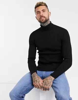 Jersey ajustado de canalé con cuello alto en negro de ASOS DESIGN