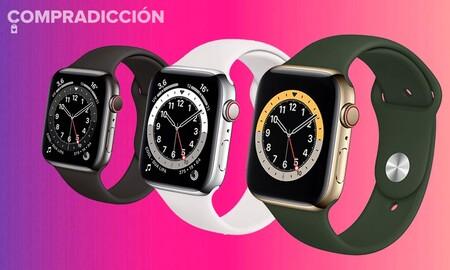 Este fin de semana en El Corte Inglés, el Apple Watch Series 6 de 44mm en acero WiFi+Celular cuesta 100 euros menos