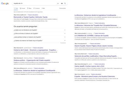 Búsquedas que devuelve en Google la consulta