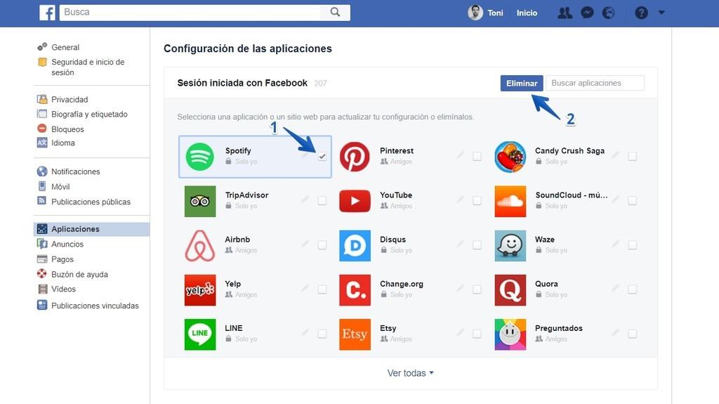 Aplicaciones y sitios webs conectados Facebook