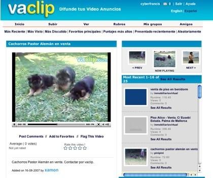 Vaclip, anuncios clasificados en vídeo