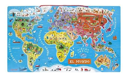 Con el  puzzle magnético del mundo  Janod los peques mejorarán geografía por sólo 36,42 euros en Amazon