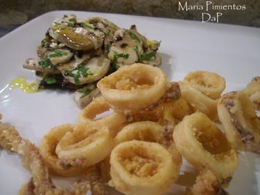 Calamares fritos con vinagreta de champiñones. Receta