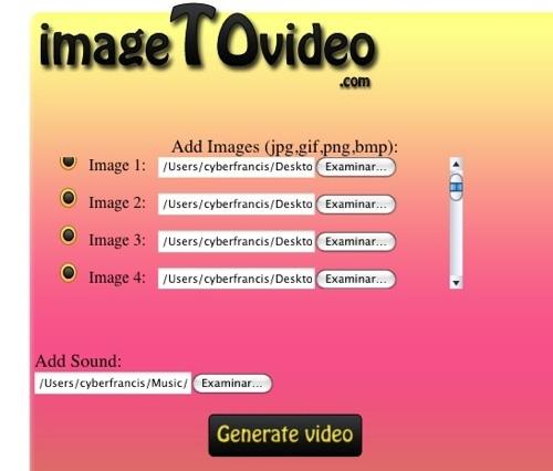 Imagetovideo, crea un vídeo con tus imágenes favoritas