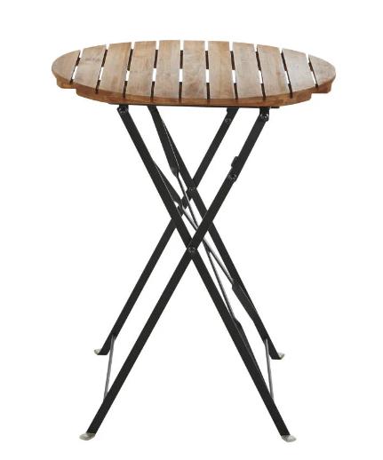 Mesa de jardín redonda, acacia maciza, 1/2 personas, 60 cm de diámetro