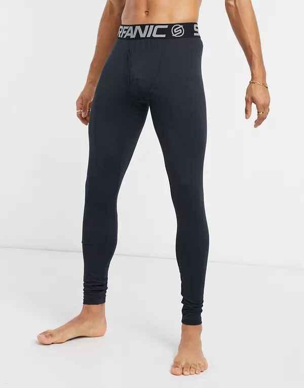 Leggings negros ajustados de regulación térmica de Surfanic