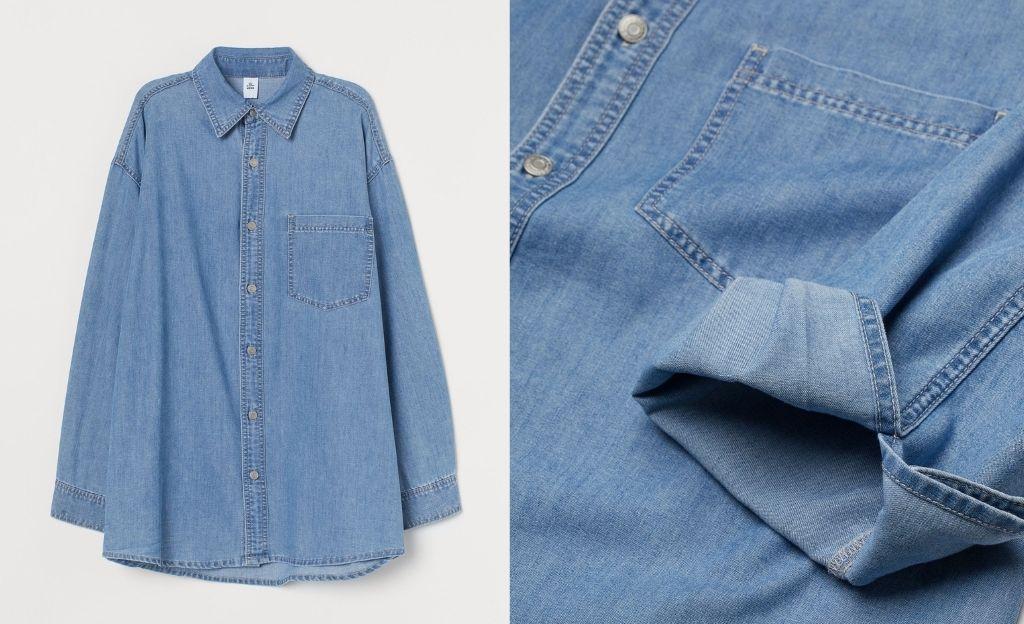 Camisa vaquera oversize de lavado medio