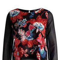 Tras un 40% de descuento tenemos la blusa   Desigual Capas Troya por 35,95 euros en Zalando con envío gratis