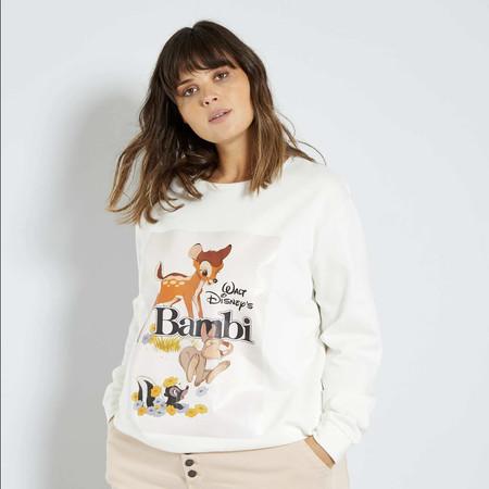 Kiabi Sudadera Disney Bambi Blanca Mujer Pvp 15eur