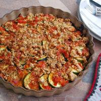 Calabacín al horno con tomate y provenzal de anchoas. Receta saludable