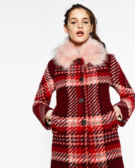 Abrigo De Pelo Rosa Zara