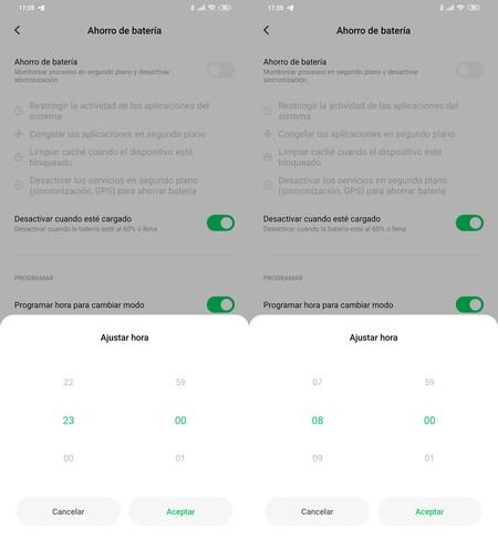 Programación ahorro batería móviles Xiaomi