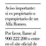 Desearás recibir esta llamada a revisión de Alfa Romeo