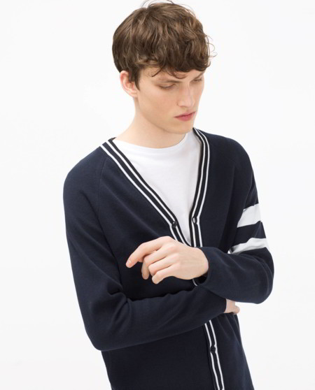 Zara Copy Thom Browne Wool Cardigan 1