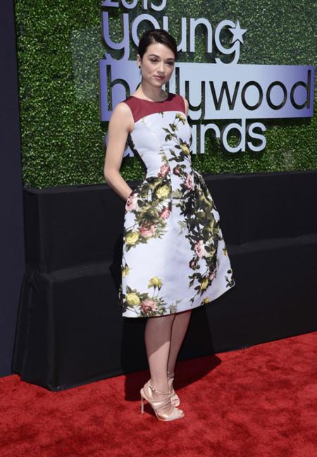 Crystal Reed estampado vestido