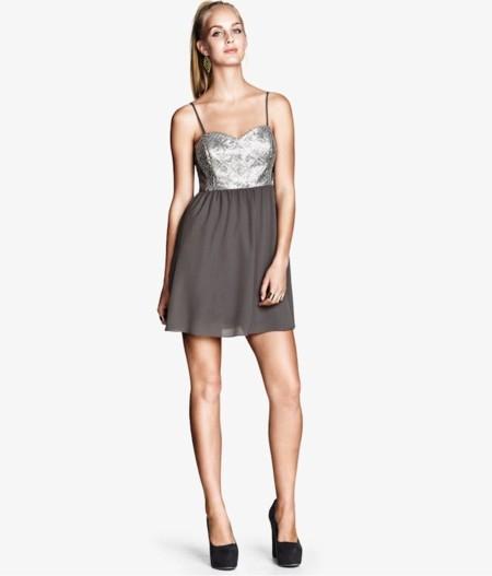vestido h&m gris brillos