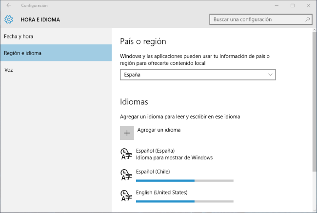 Idiomas Windows10